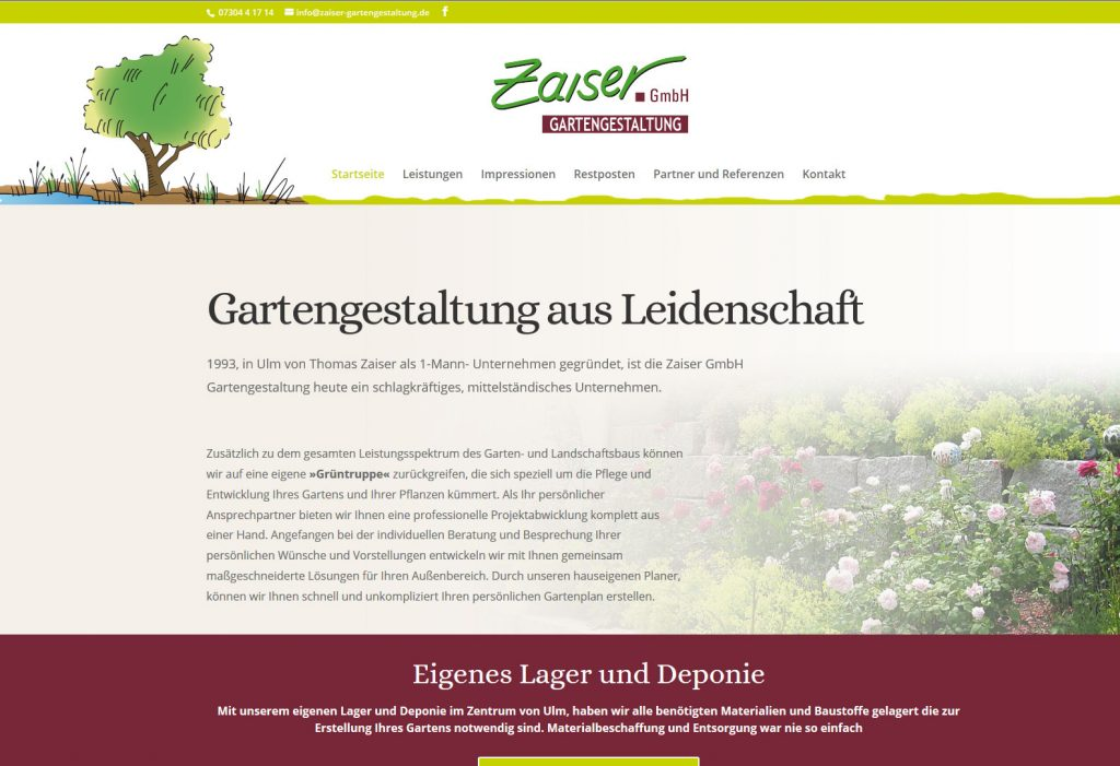Internetseite für Zaiser Gartengestaltung